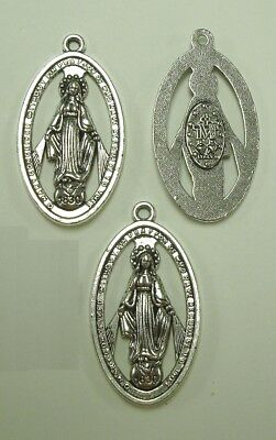 """3 Miraculous Medals 1830 The Blessed Virgin Mary Large size 1 7/16"""" 36mm CFP112"""
