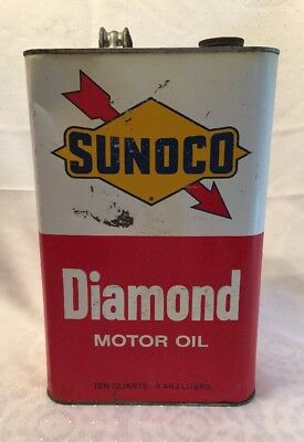 Vintage 1969 SUNOCO DIAMOND MOTOR OIL Ten Quart Can 2.5 Gallon Large Can