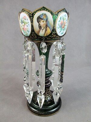 19thc MOSER Style Art Glass MANTLE LUSTER~~Portrait & Floral Cartouches