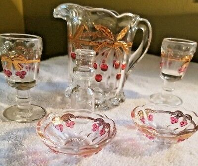 Vtg Northwood Mosser Glass Cherry & Gold Childrens Dishes Lot of 6 items
