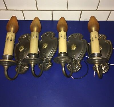 Four 4 early antique brass sconces with matching patina 2 Pairs 47A
