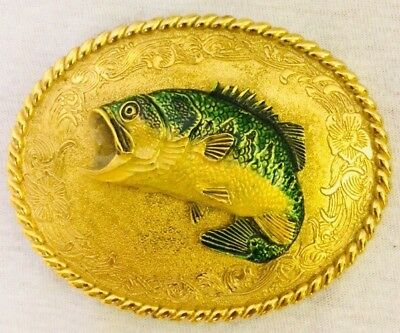 Vintage Raintree  Belt Buckle Jumping Fish Metal 1978 Bass Large Mouth Gold Tone