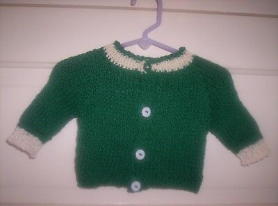 Infant Cardigan Sweater In Kelly Green W/white Trim & Buttons