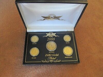Very cool 2000 Mint Type Set 24k Gold Plated Coins with Presentation box.