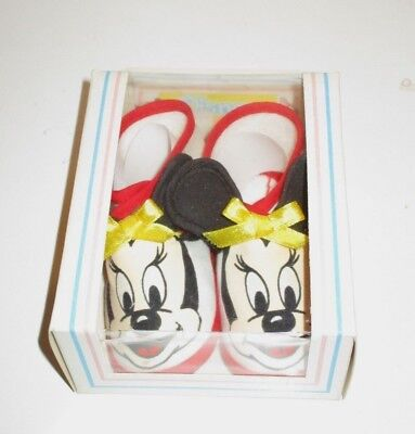 Vintage Disney Babies 1984 Infant Baby Shoes Minnie Mouse Unused Boxed Booties