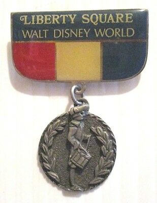 Walt Disney World Liberty Square Enamel Pin With Dangling Fife & Drum Medal