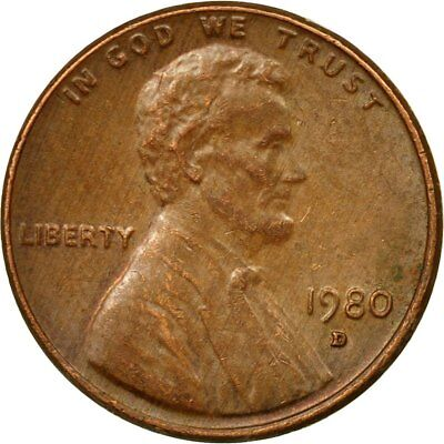 [#529581] Coin, United States, Lincoln Cent, Cent, 1980, U.S. Mint, Denver