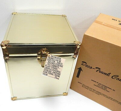 New Vintage Mid Century Brass Accent Storage Decorator Trunk Chest Box Art Deco