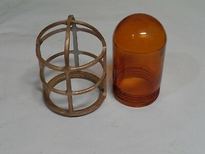 Vintage light cage and glass, solid brass, used