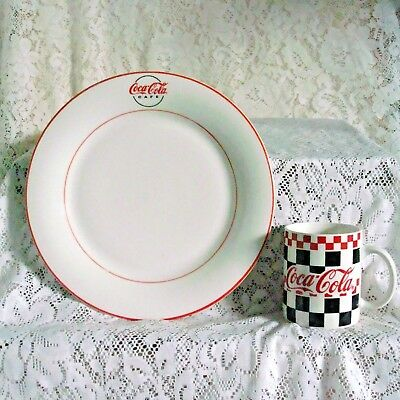 Vintage Classic Coca-Cola Dinner Plate With Mug By Gibson Very Good Condition