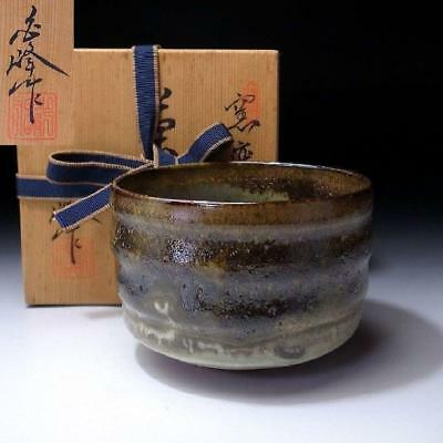 LC2: Vintage Japanese Pottery Tea bowl, Seto ware with Signed wooden box