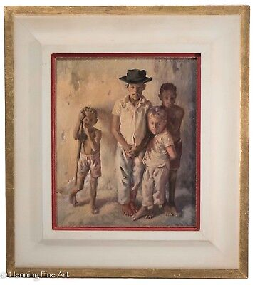 Superb Impressionist Oil Painting of Four Impoverished Children, Signed & FINE!
