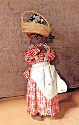 Vintage Antique Cloth Black Americana Doll Carrying Basket On Head Pics Rag Doll