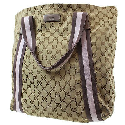 7d17c797f04f GUCCI GG Web Supreme Hand Bag Beige Pink PVC Leather Italy Vintage Auth  #P565 Z