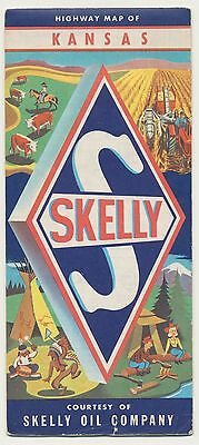 VINTAGE 1960s KANSAS SKELLY OIL & GAS STATION Road Map Petroliana MAN CAVE RM19
