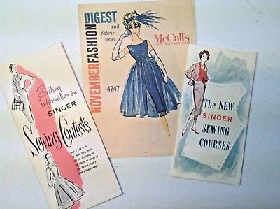 Vintage lot of 3 Singer Sewing & Fashion Booklets-1950's-Mid Century Modern