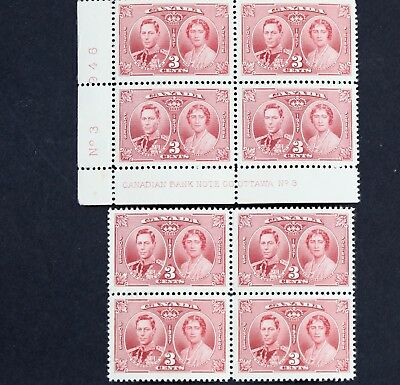 Canadian Stamp, Scott #237 F/VF MNH 3 Cent Two Blocks of 4 Coronation