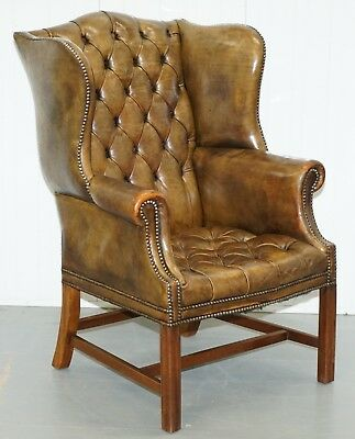 Very Rare Original 1930's Chesterfield Fully Buttoned Leather Wingback Armchair