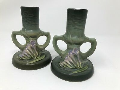 TWO  Vintage ROSEVILLE FREESIA Green CANDLE HOLDERS  #1161-4 1/2