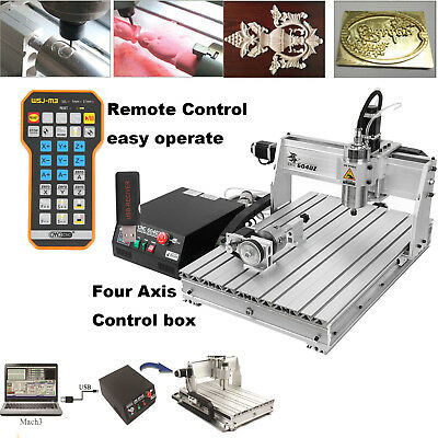 4 Axis 6040 USB 1.5KW CNC Router Engraving Milling Machine 110V Remote Control