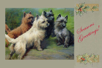 Cairn Terrier Dogs  by Fanny Moody 1897 8 LG New Season's Geetings Note Cards