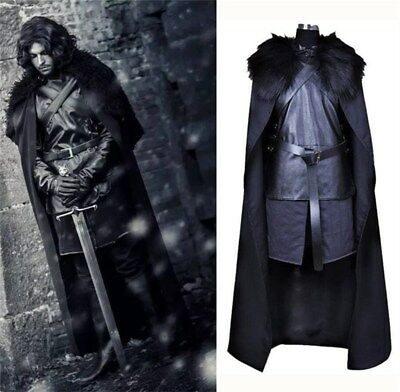 Mens Jon Snow Costume Game of Thrones Cosplay Halloween Adult Outfit Fancy Dress