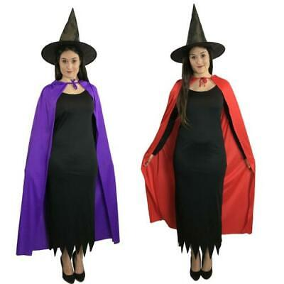 Ladies Long Black Wicked Witch Costume dress hat & cape Halloween costume
