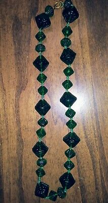 Superb ART DECO Molded Pressed GREEN GLASS Bead Beads Vintage Necklace