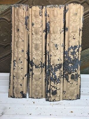 "4pc Lot of 24"" by 4.5"" Antique Ceiling Tin Vintage Reclaimed Salvage Art Craft"