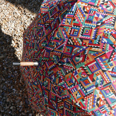 VINTAGE LARGE COLLIER CAMPBELL UMBRELLA with WOODEN HANDLE