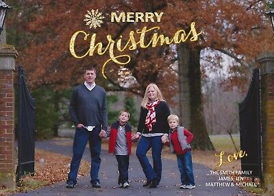 Gold Glitter Holiday Christmas Personalized Photo Card - Any # of Photos