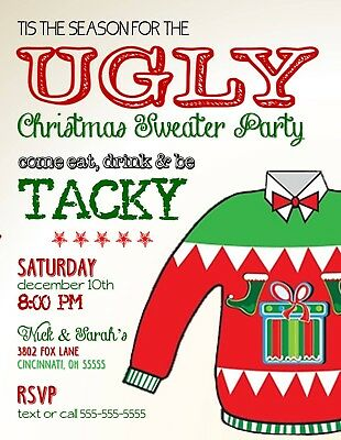 Ugly Christmas Sweater Holiday Christmas Party Invitation