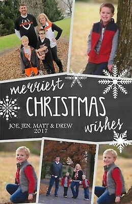 Chalkboard Snowflakes Holiday Christmas Personalized Photo Card-Any # Photo