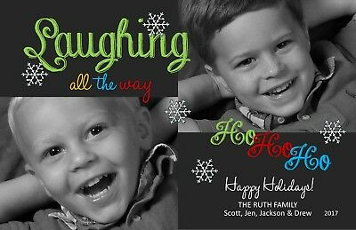 Laughing All The Way Holiday Christmas Personalized Photo Card-Any # Photo