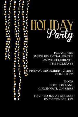 Gold & White Lights Holiday Christmas Party Invitation