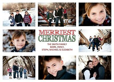 Photo Collage Holiday Christmas Personalized Photo Card - Any # of Photos