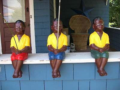 Black Fishing Boy Rastus Jr....cement Statue. Pick One. Statue. Yard Art.