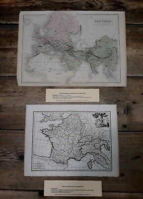 2 antique 19th c. map prints Ancient World by W. Hughes; France by Giraldon. D4