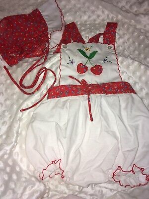 Vintage Adorable Baby Girl Romper One Pc. Outfit And Matching Bonnet 18 Months.