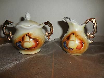 Vintage Hand Painted Small Cream and Sugar Bowl Set Gold Trim Fruit Scene