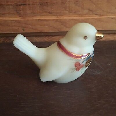 Vintage Fenton Yellow Custard Glass Hand Painted Bird Figurine