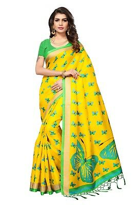 Indian Designer Khadi silk tussale new daily wear floral print saree with blouse