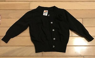 Baby Girl Cardigan 12 Month, Black, Flower, Jewel Buttons