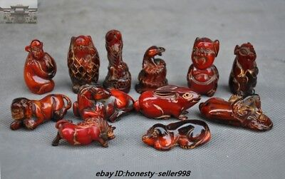 Rare Chinese Fengshui Old Ox horn carved 12 Year Zodiac Animal Lucky Statue Set