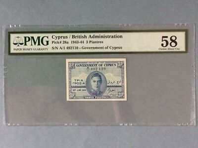 Cyprus P-28a; 3 Piastres; 1943; PMG Graded 58