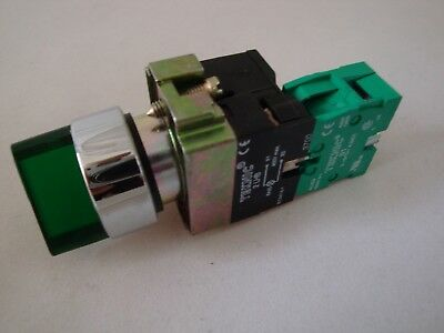 Illuminated Selector Switch 2 Position Stayput Green with 1 N/O Contact