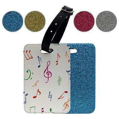 Glitter Luggage Suitcase Tag Music Note Pattern - S3764