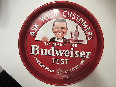 Near Mint Budweiser Beer Test 13 Inch Beer Serving Tray