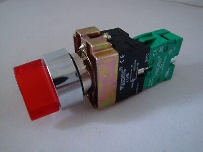 Illuminated Selector Switch 2 Position Spring Return Red with 1 N/O Contact