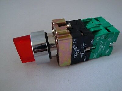 Illuminated Selector Switch 3 Position Stayput Red with 2 N/O Contacts